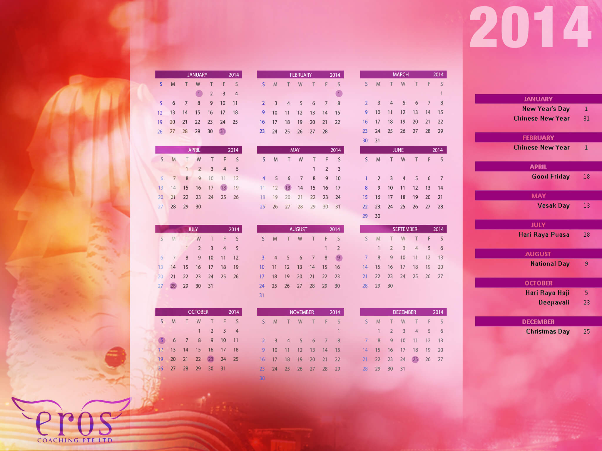 Downloadable 2014 Desktop Calendars