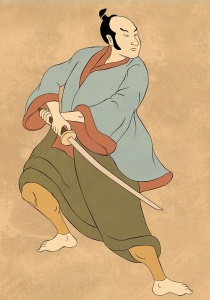 illustration of a Samurai warrior with katana sword in fighting stance done in cartoon style
