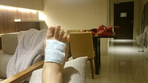 Resting My Swollen Right Foot
